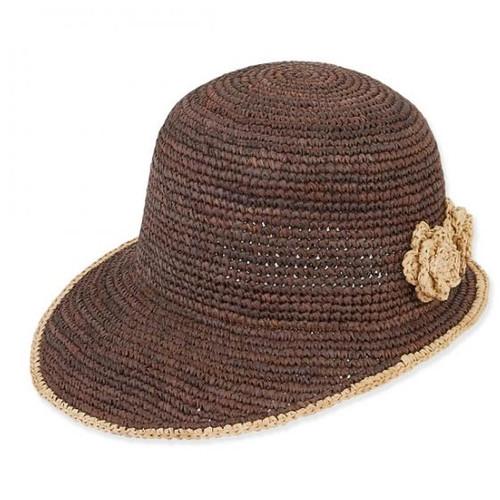 Sun 'N' Sand - Brown Crocheted Raffia Bow Cap