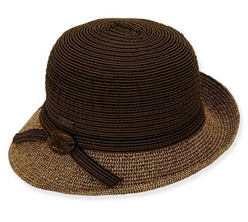 Sun 'N' Sand - Brown Asymmetrical Cloche Hat