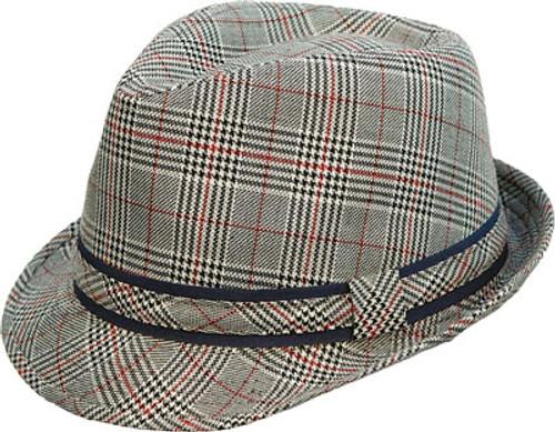 Kenny K - Grey Plaid Fedora Hat