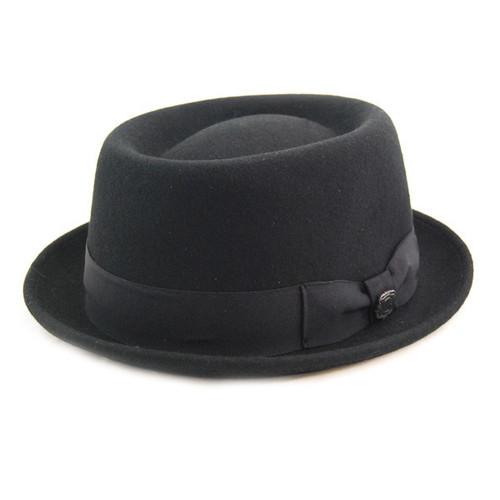 Bigalli - Black Wool Felt Porkpie Hat