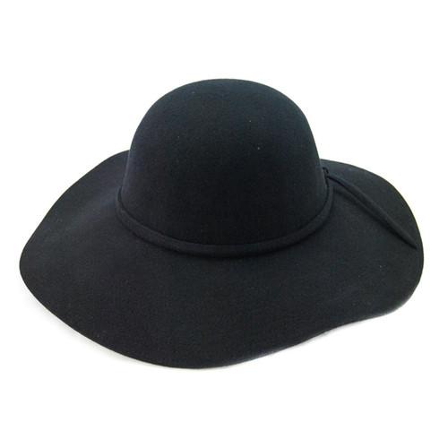 "Jeanne Simmons - Black 4.5"" Flat Brim Hat"