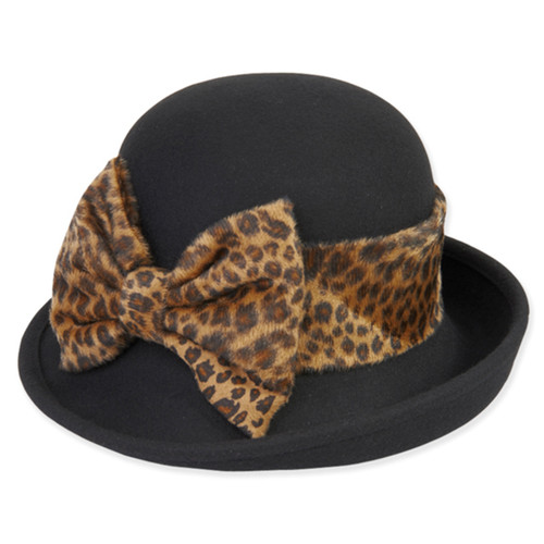 Adora - Alec Felt Cloche Hat with Leopard Trim