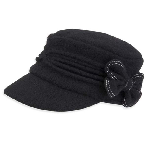 Adora - Black Soft Wool Cadet Cap