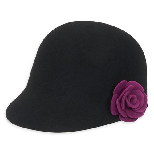 Adora - Black Malfar Felt Cloche Hat