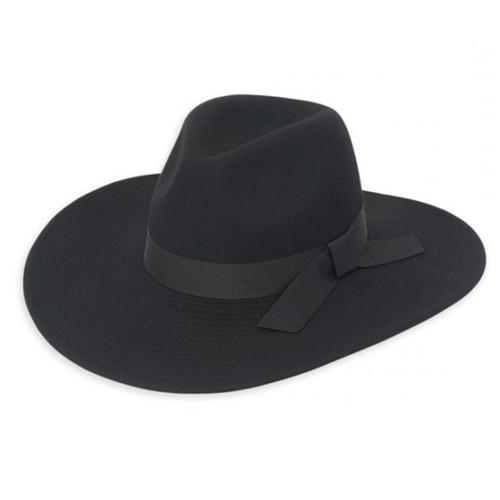 Adora - Black Shanty Wool Felt Fedora Hat