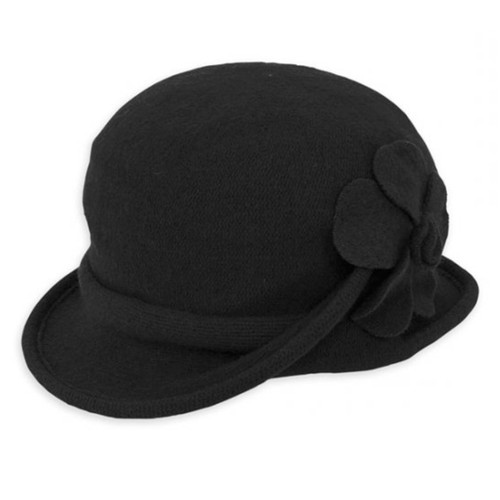 Adora - Black Galin Soft Wool Cloche Hat