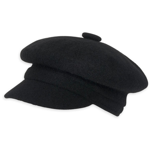 Adora - Elvar Soft Wool Newsboy Cap Black