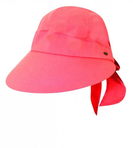 Scala - Cotton Facesaver Visor Hat Coral