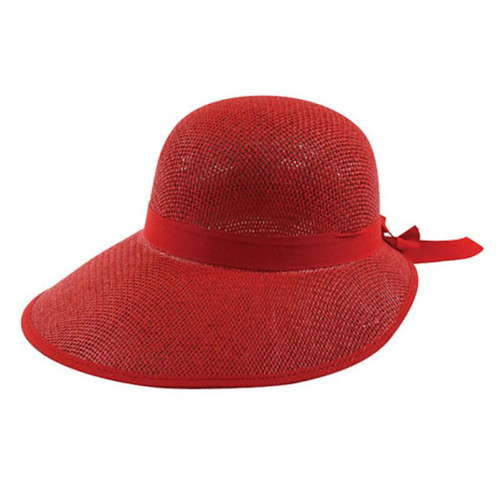 California Hat Company - Red Ladie's Straw Scoop Hat