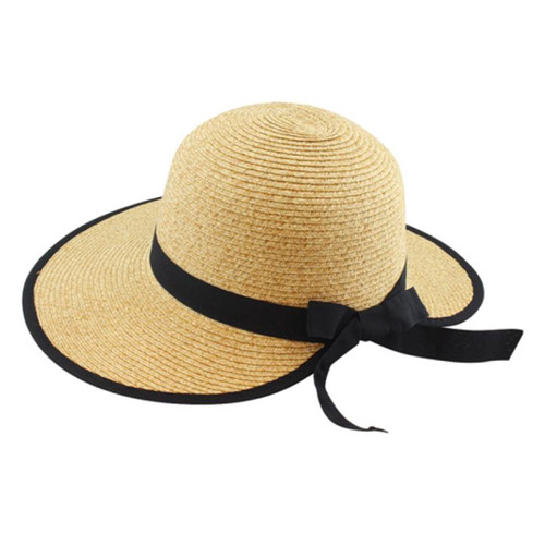 California Hat Company - Beige Ladies Sewn Braid Visor Hat