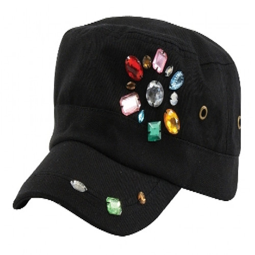 California Hat Company - Black Military Cap with Rhinestones