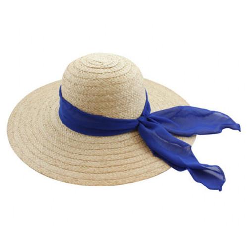 "California Hat Company - Blue 5"" Wide Brim Straw Hat with Ribbon"