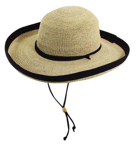 Scala - Fine Crocheted Raffia Kettle Brim Hat Black