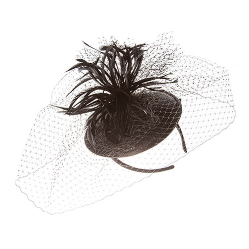 Something Special - Black Feather Fascinator Hat with Lace Veil