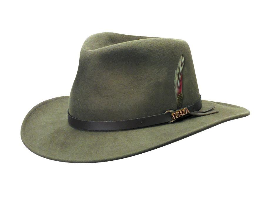 Scala Wool Felt Crushable Outback Hat