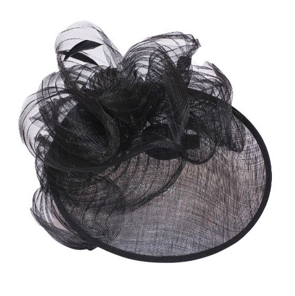 Something Special - Black Wide Brim Fascinator Hat with Ribbon