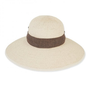 Sun 'N' Sand - Natural Jaylight Straw Wide Brim Hat with Linen Scarf