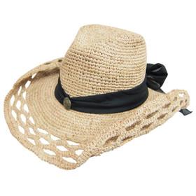 Dynamic Asia - Crochet Raffia Cowboy Hat with Sash