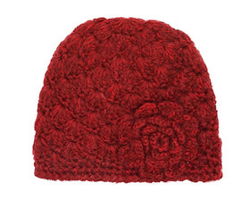 Downtown Style - Red Beanie with Rose