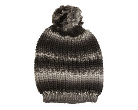 Downtown Style - Multicolor Knit Pom Beanie Black