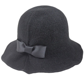 Jeanne Simmons - Black Wool Lampshade Cloche Hat
