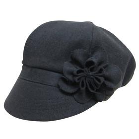 Downtown Style - Black Wool Felt Cabbie Cap