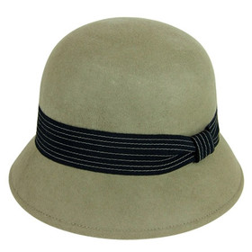 Downtown Style - Camel Wool Felt Cloche Hat
