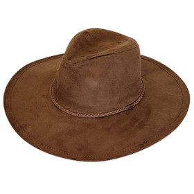 Downtown Style - Brown Faux Suede Fedora