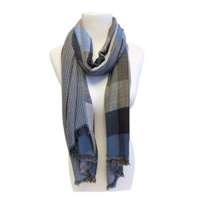 Downtown Style- Earth Tones Plaid Scarf - Blue