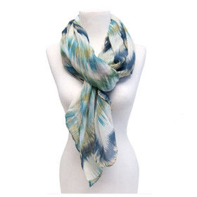 Downtown Style - Painted Zigzag Scarf - Blue
