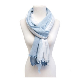 Downtown Style - Tonal Stripes Cotton Scarf - Blue
