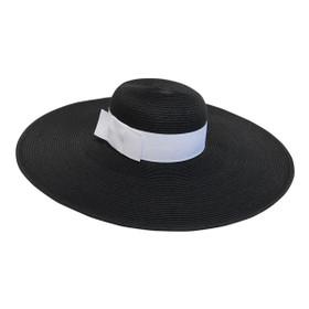 Boardwalk Style - Wide Brim Straw Hat With Black Band