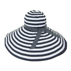 Boardwalk Style - Extra Large Brim Striped Ribbon Crushable Hat