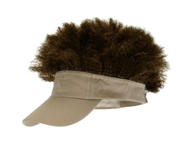 Elope - Afro Visor Hat Tan With Brown Hair