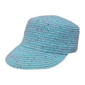 Boardwalk Style - Kids Confetti Straw Cadet Cap in Blue - Full View