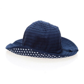 Boardwalk Style - Kids Sun Hat w/ Polka Dot Underbrim in Navy