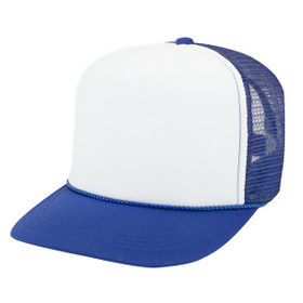 Otto Cap Youth 5 Panel Tracker Cap Two Tone in Royal and White - Full View