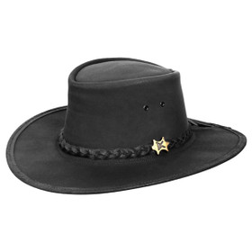 Conner - Black Stockman Oily Australian Leather Hat