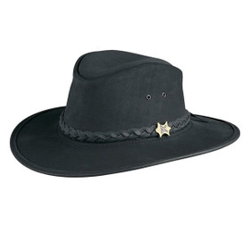 Conner Bush and City Leather Hat in Black - Full View