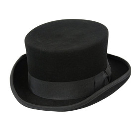Conner Low Rise Wool Top Hat in Black - Full View