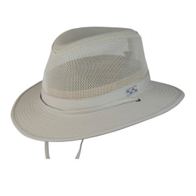 Conner Mens Mesh Outdoor Fedora in Oatmeal - Full View