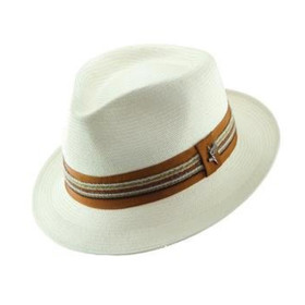 Dorfman Pacific - Santana by Carlos Santana Shantung Straw Fedora Hat in Natural - Full View