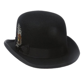 Dorfman Pacific - Stacy Adams Classic Bowler Hat in Black - Full View