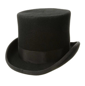 Dorfman Pacific - Low Crown Top Hat in Black - Full View