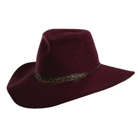 Scala - Wide Brim Safari Hat in Burgunday