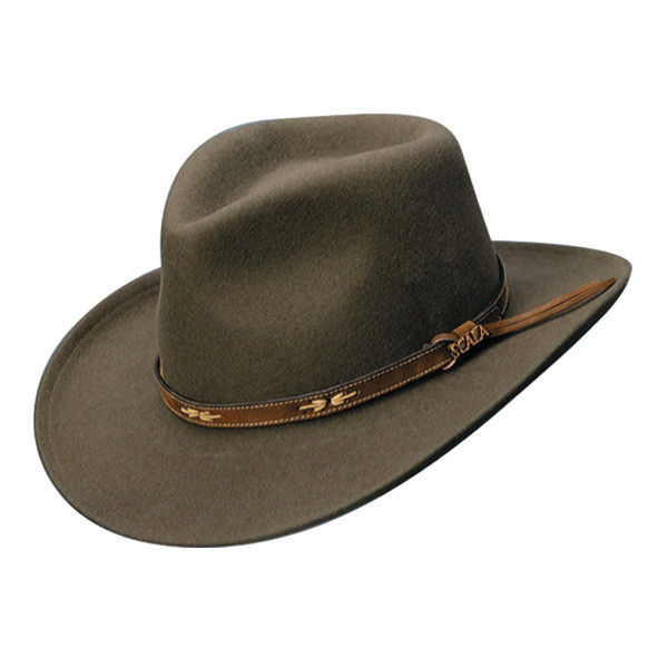 Scala - Crushable Wool Outback Hat in Khaki