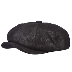 Stetson - Weathered Newsie Cap in Black