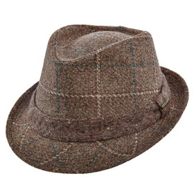 Stetson - Plaid Italian Wool Fedora in Brown - Full View