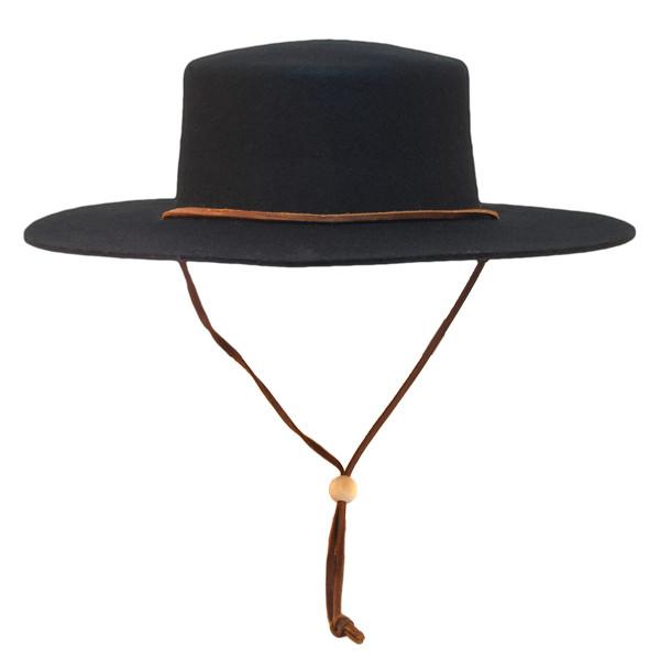Jeanne Simmons - Wool Felt Bolero Hat w/ Chin Chord
