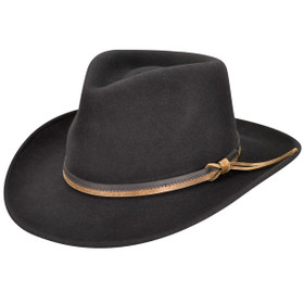 Country Gentleman- Wool Felt Outback Fedora in Black